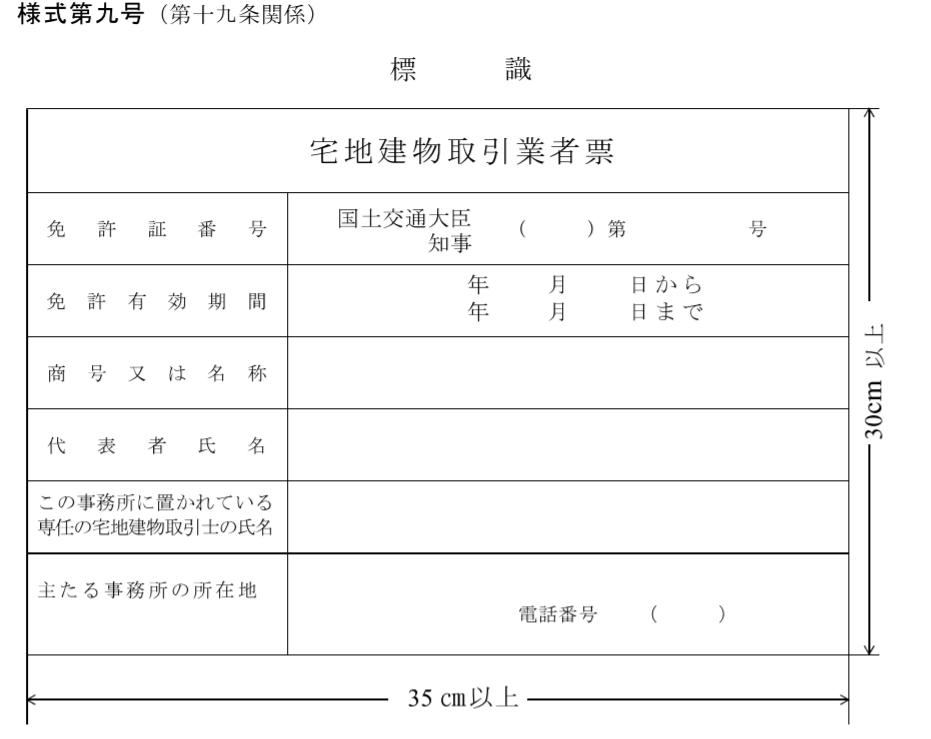 宅建業免許が下りたら業者票を事務所に設置