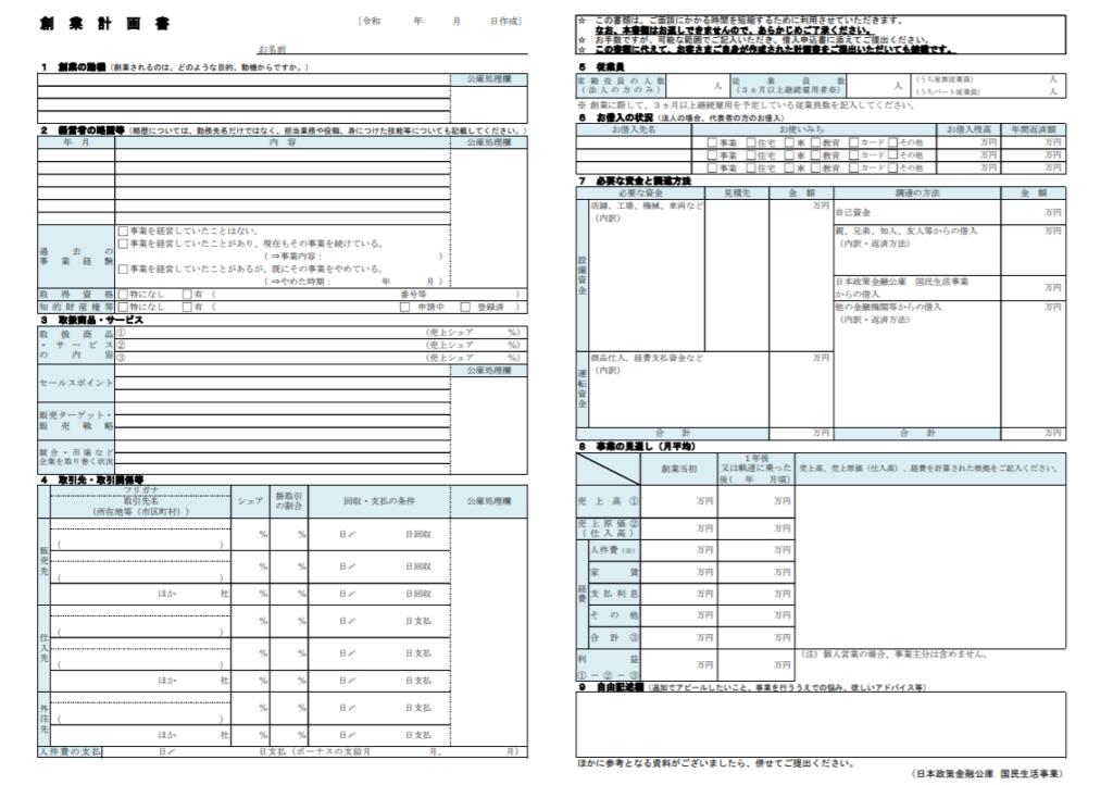 創業融資制度の創業計画書